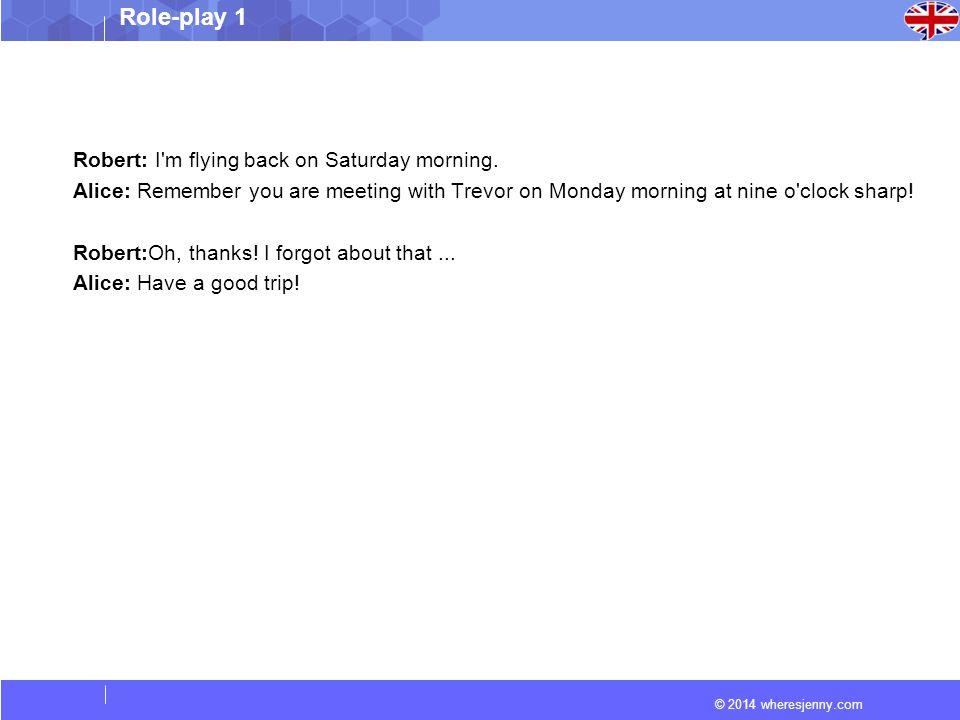 © 2014 wheresjenny.com Role-play 1 Key Vocabulary 1.