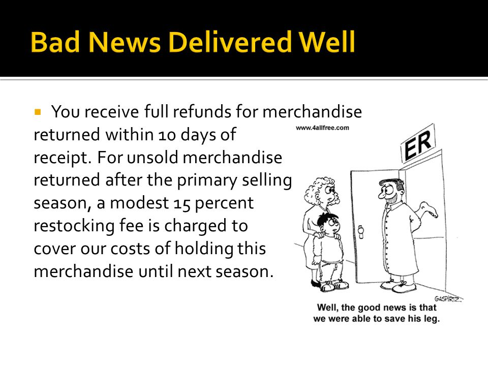  You receive full refunds for merchandise returned within 10 days of receipt.