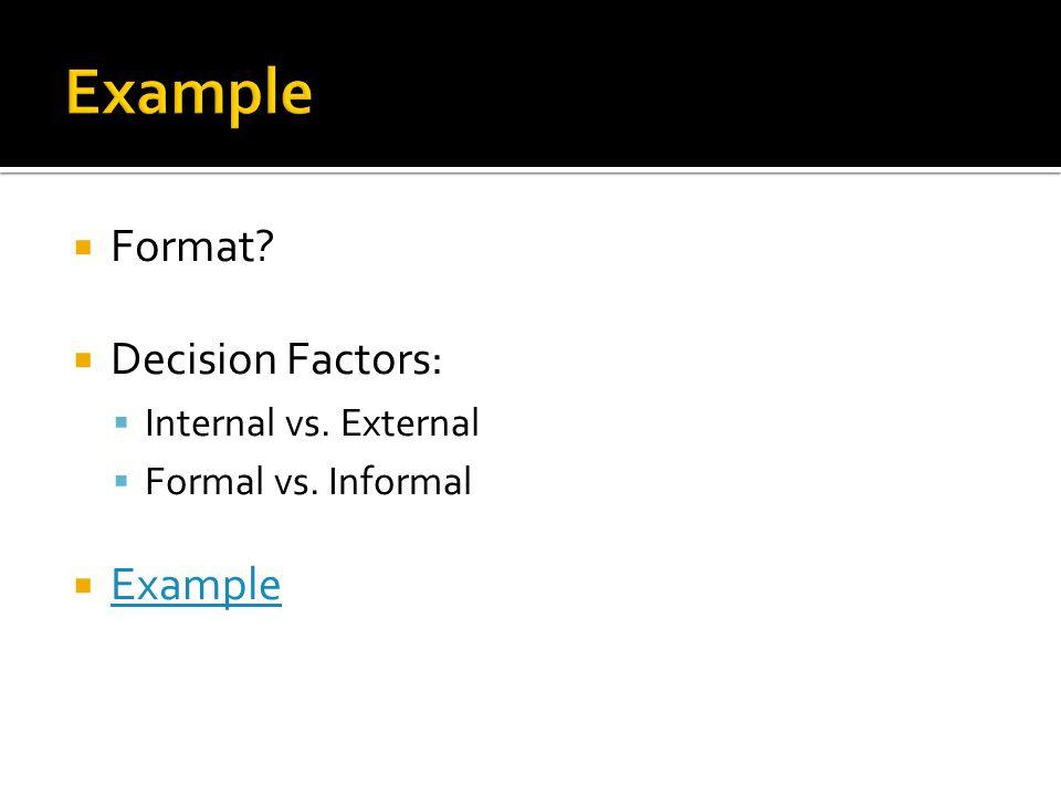  Format  Decision Factors:  Internal vs. External  Formal vs. Informal  Example Example
