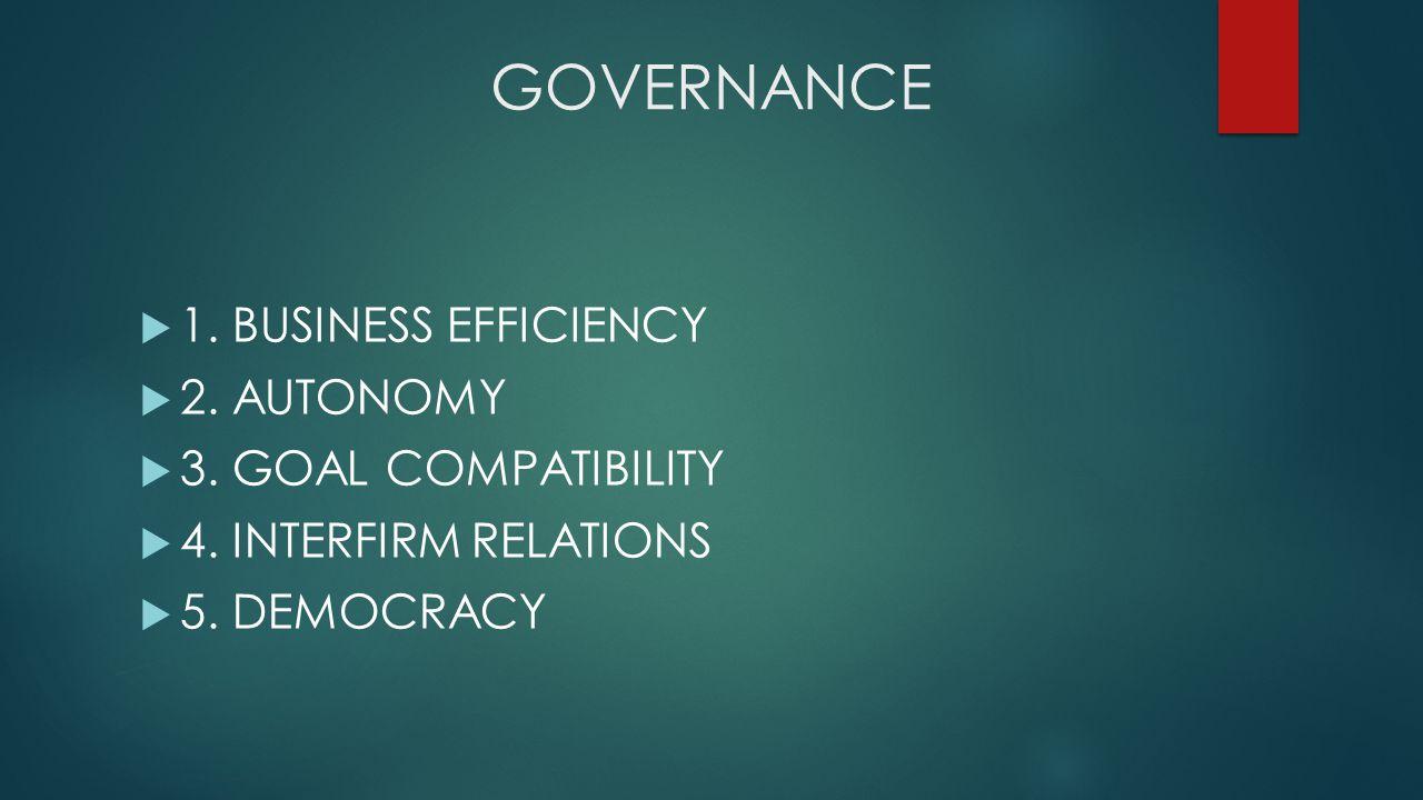 GOVERNANCE  1. BUSINESS EFFICIENCY  2. AUTONOMY  3.