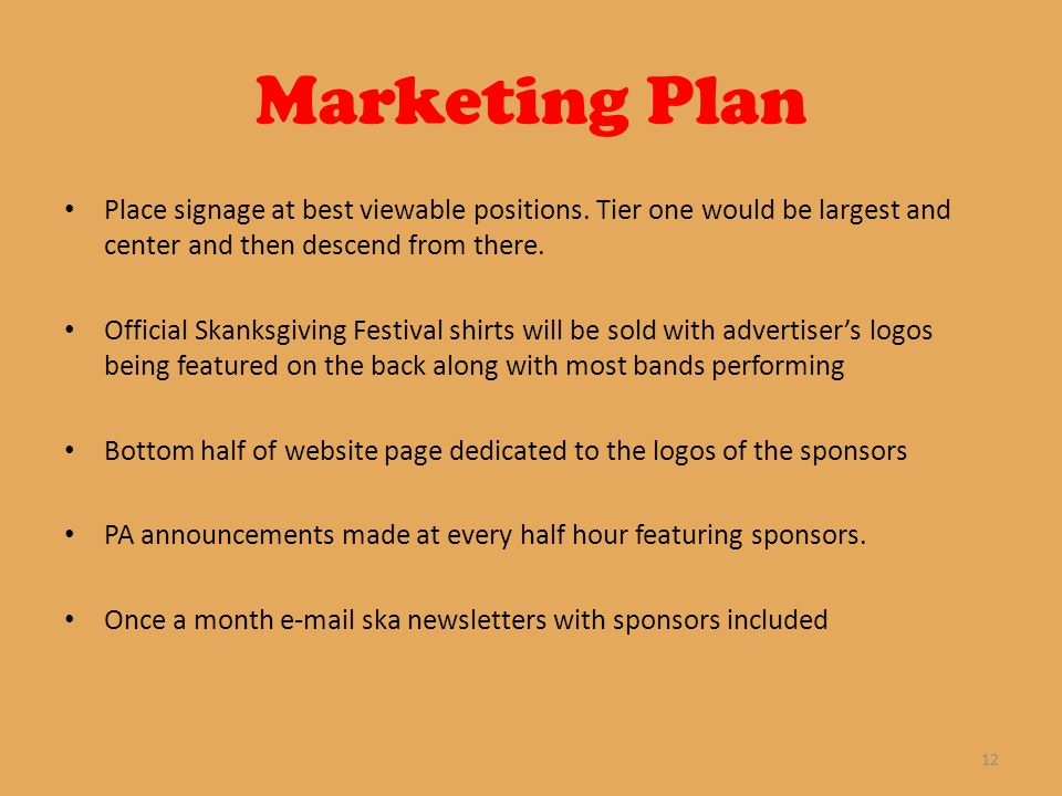 Marketing Plan Place signage at best viewable positions.
