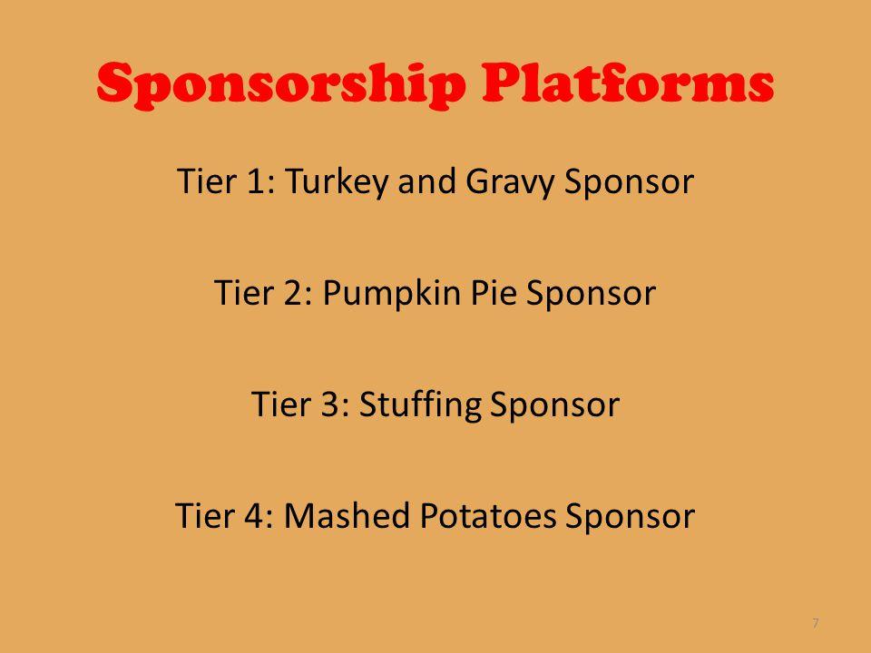 Sponsorship Platforms Tier 1: Turkey and Gravy Sponsor Tier 2: Pumpkin Pie Sponsor Tier 3: Stuffing Sponsor Tier 4: Mashed Potatoes Sponsor 7