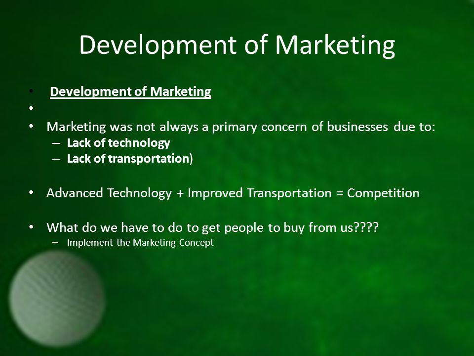 Marketing Concept: Focusing on the needs of customers during the development and promotion of a product.