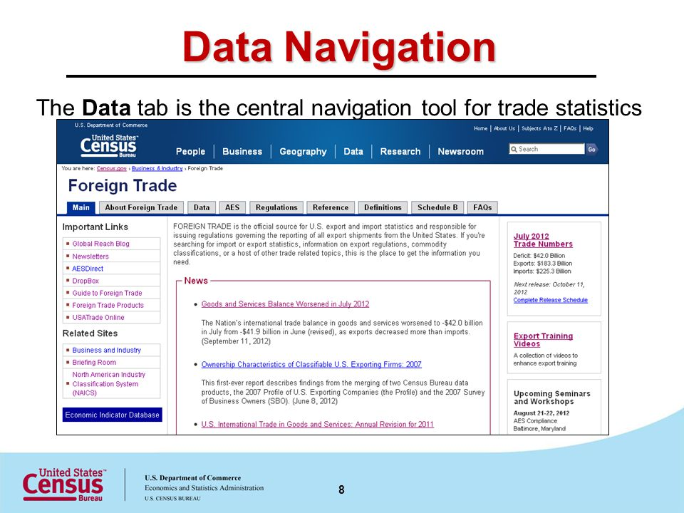 Data Navigation The Data tab is the central navigation tool for trade statistics 8