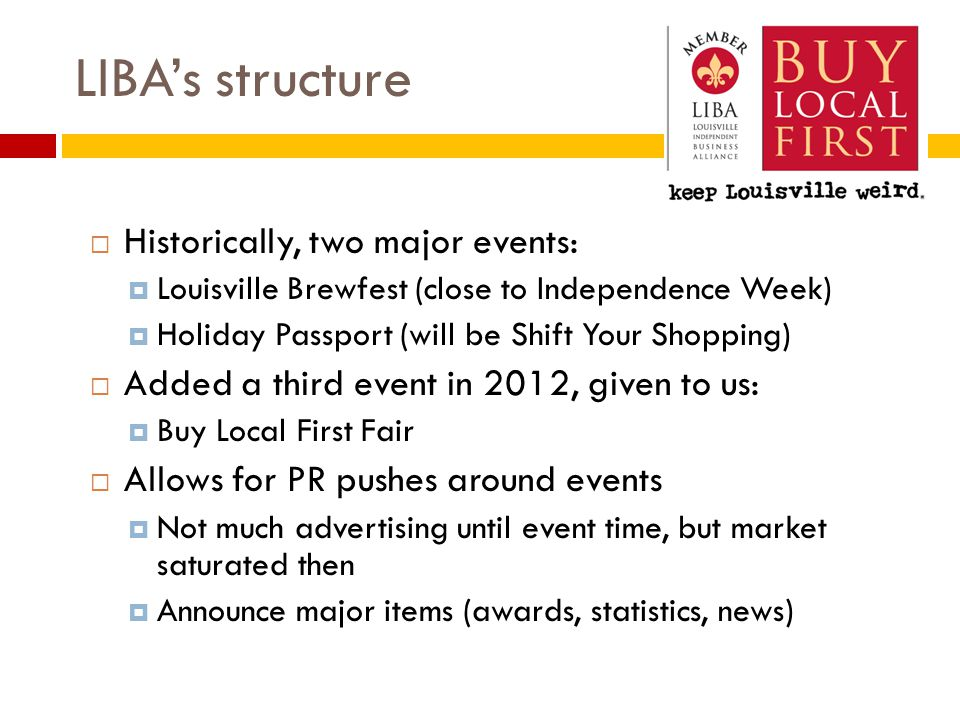 LIBA's structure  Historically, two major events:  Louisville Brewfest (close to Independence Week)  Holiday Passport (will be Shift Your Shopping)  Added a third event in 2012, given to us:  Buy Local First Fair  Allows for PR pushes around events  Not much advertising until event time, but market saturated then  Announce major items (awards, statistics, news)