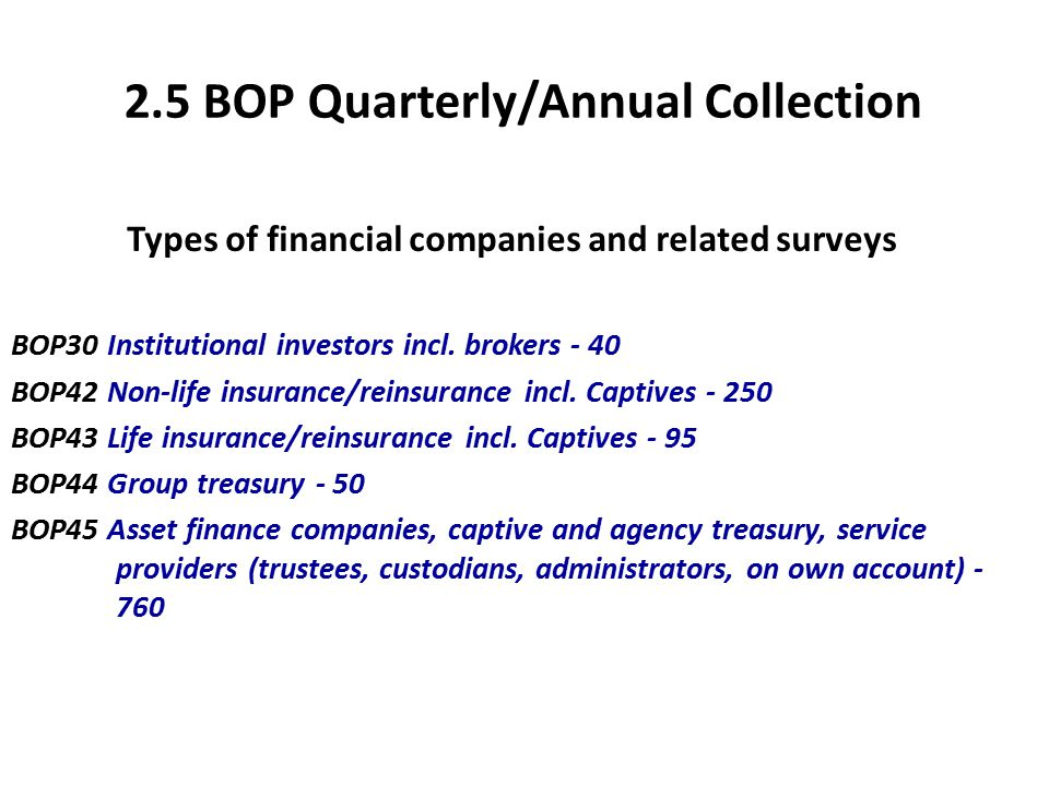 2.5 BOP Quarterly/Annual Collection Types of financial companies and related surveys BOP30 Institutional investors incl.