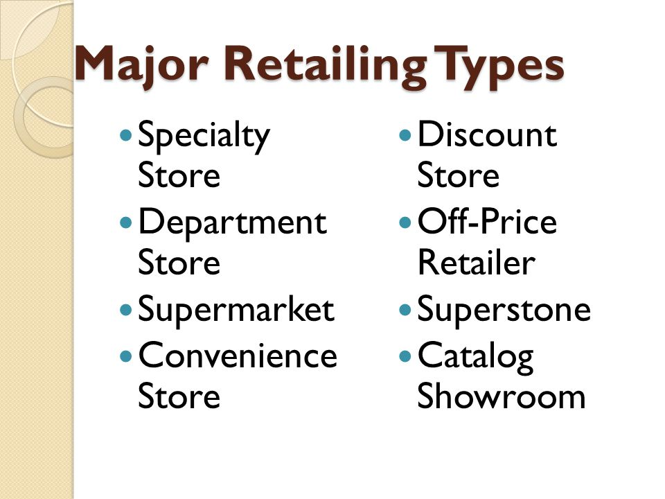 Specialty Store Specialty stores are small stores which specialize in a specific range of merchandise and related items.