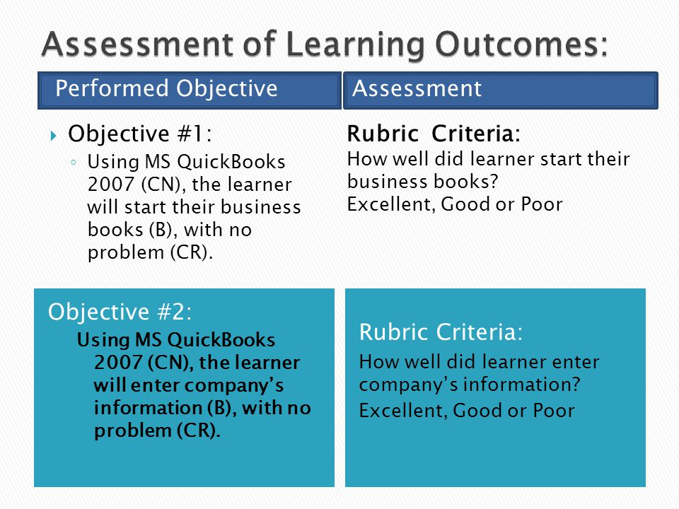 Objective #2: Using MS QuickBooks 2007 (CN), the learner will enter company's information (B), with no problem (CR).