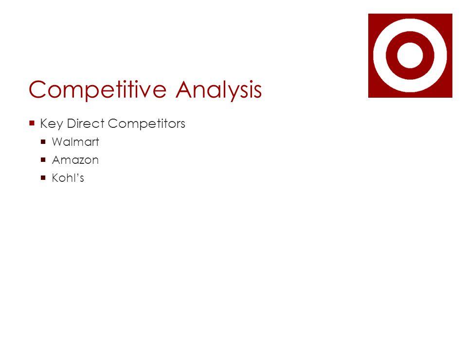 Competitive Analysis  Key Direct Competitors  Walmart  Amazon  Kohl's