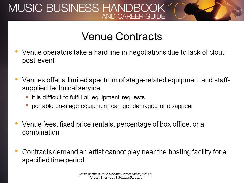 Venue Contracts Performance Rights in Concerts A public performance of a copyrighted song triggers a fee usually collected by a PRO Venues are responsible for securing the performance rights license The promoter and not the venue may be responsible for paying the PRO The fee is typically a small slice of gross ticket revenue  the fee is due even if the performing artist is the sole composer of the performed works Music Business Handbook and Career Guide, 10th Ed.