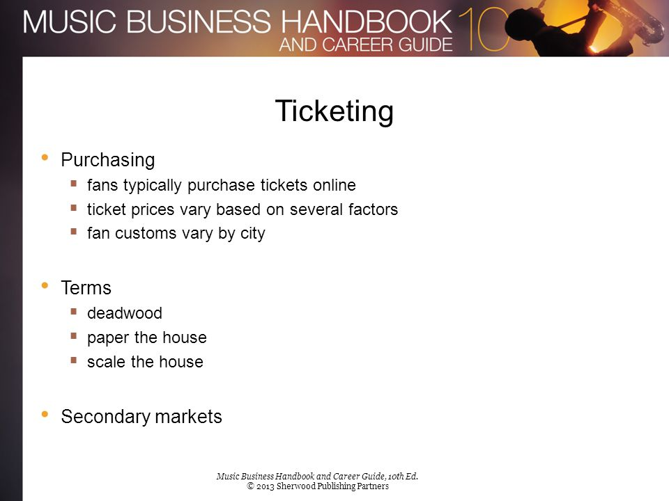 Licensed Music Merchandise Innovations  more than T-shirts + posters  now leading fashion brands + fragrances Merchandise contracts  royalties  360 deals  If an advance was paid, the artist doesn't get further pay until royalties exceed the upfront pay Artist merchandise at concerts Music Business Handbook and Career Guide, 10th Ed.