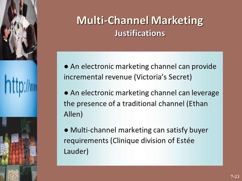 7-23 ● An electronic marketing channel can provide incremental revenue (Victoria's Secret) ● An electronic marketing channel can leverage the presence