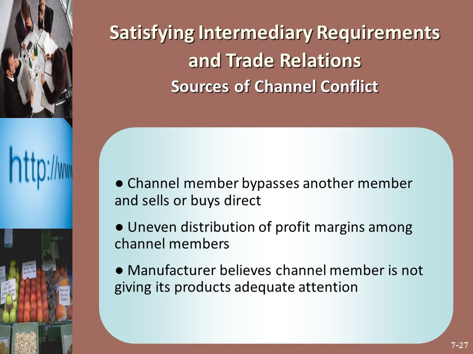 7-27 ● Channel member bypasses another member and sells or buys direct ● Uneven distribution of profit margins among channel members ● Manufacturer be