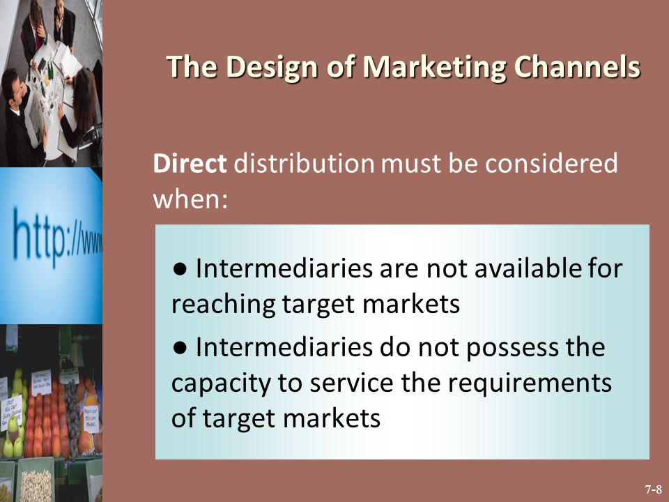7-19 ● occurs when an organization distributes its offering through two or more different marketing channels that may or may not compete for similar buyers ● the main consideration is whether it will provide incremental sales revenue or cannibalize existing sales Dual Distribution