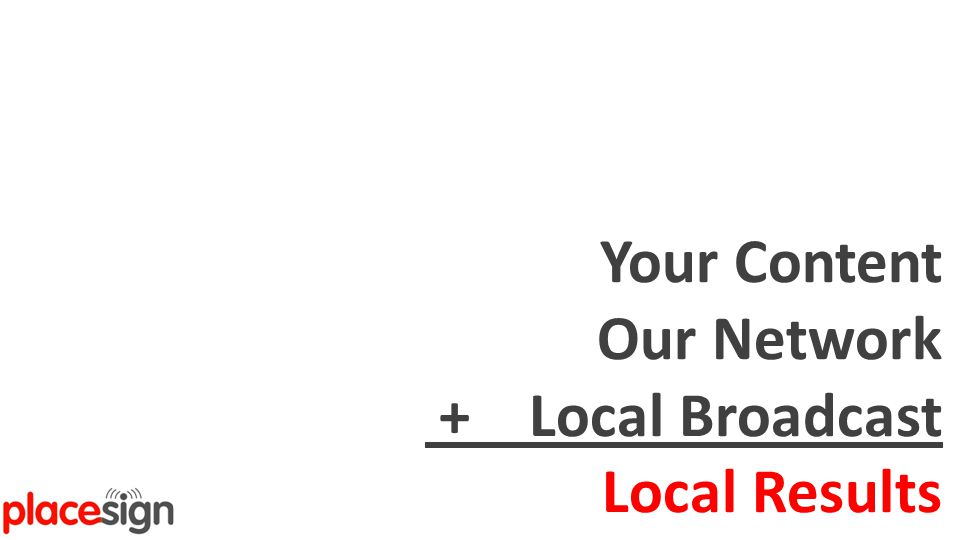 Real-Time Local Digital Marketing Your Content Our Network + Local Broadcast Local Results
