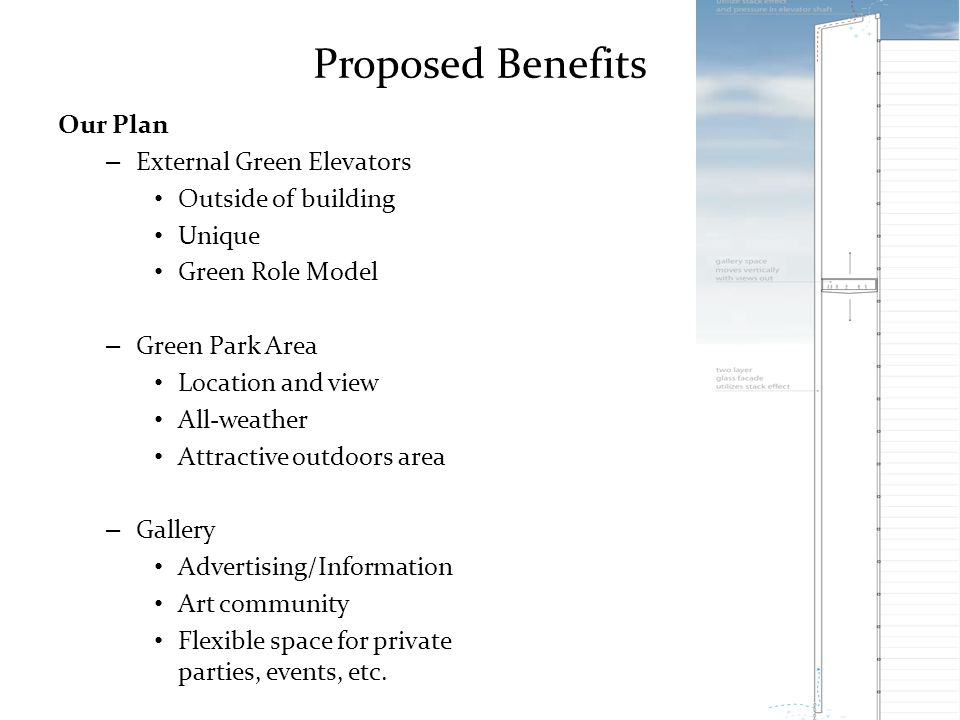Proposed Benefits Our Plan – External Green Elevators Outside of building Unique Green Role Model – Green Park Area Location and view All-weather Attractive outdoors area – Gallery Advertising/Information Art community Flexible space for private parties, events, etc.