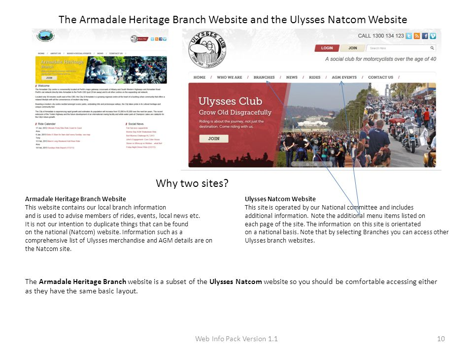 Web Info Pack Version 1.110 The Armadale Heritage Branch Website and the Ulysses Natcom Website Why two sites.