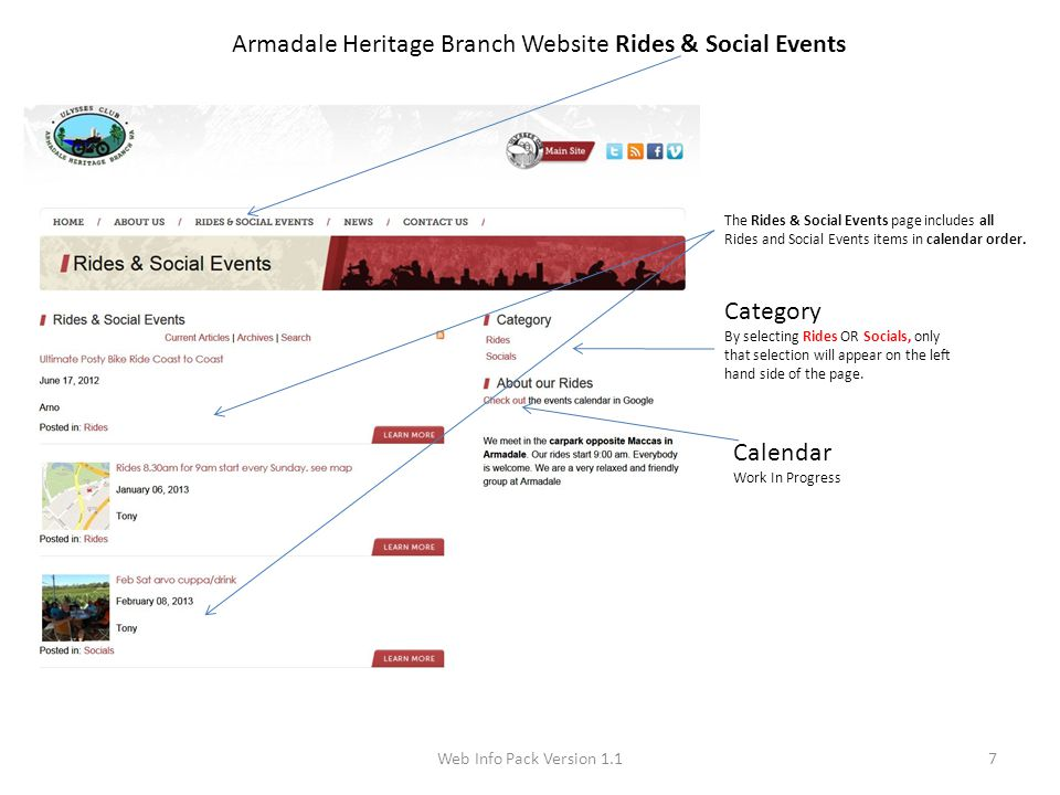 Web Info Pack Version 1.17 Armadale Heritage Branch Website Rides & Social Events The Rides & Social Events page includes all Rides and Social Events items in calendar order.