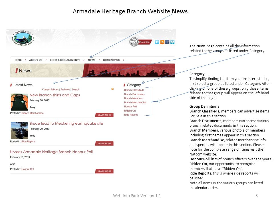 Web Info Pack Version 1.18 Armadale Heritage Branch Website News The News page contains all the information related to the groups as listed under Cate