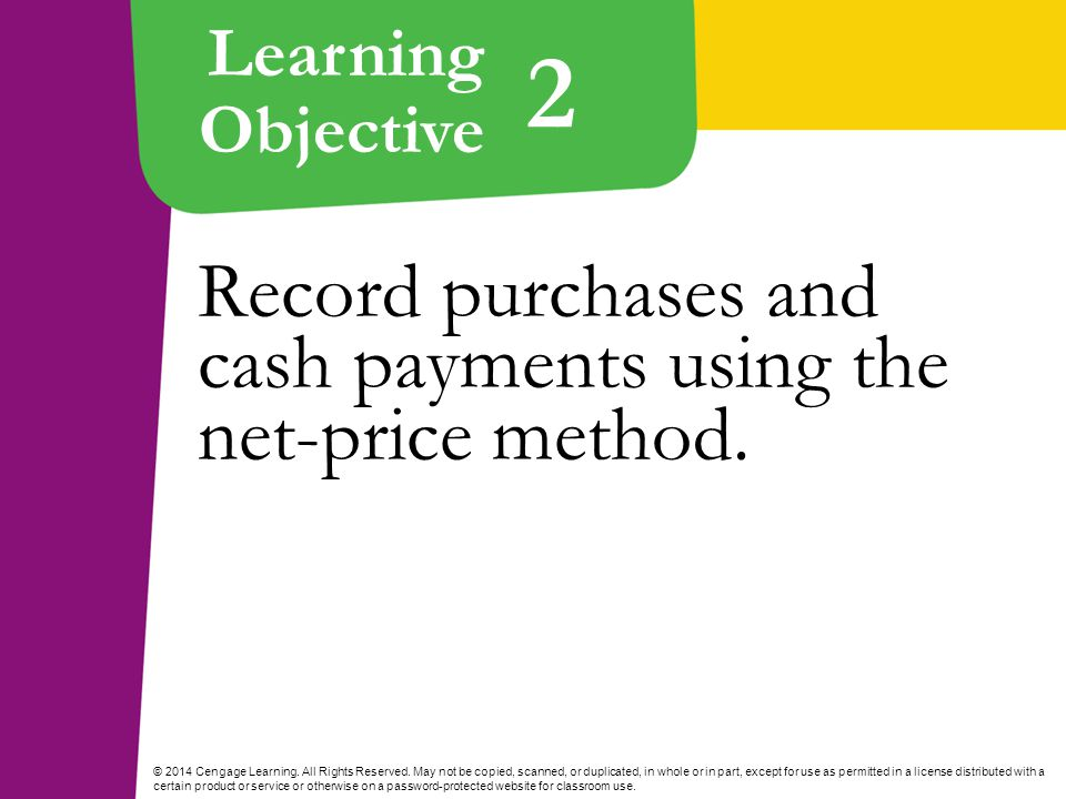 Learning Objective © 2014 Cengage Learning. All Rights Reserved.
