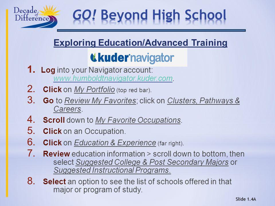 Exploring Education/Advanced Training 1.
