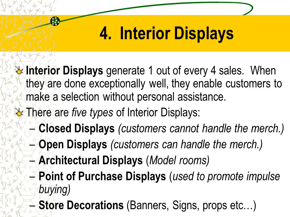 4. Interior Displays Interior Displays generate 1 out of every 4 sales. When they are done exceptionally well, they enable customers to make a selecti