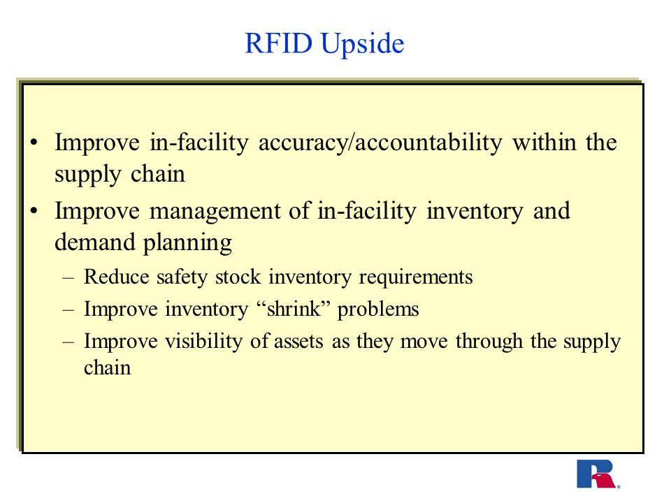 Lessons Learned Actively investigate the costs associated with implementing a test for RFID – a learn as you go technique Strongly recommend that you develop a phased approach to this new technology