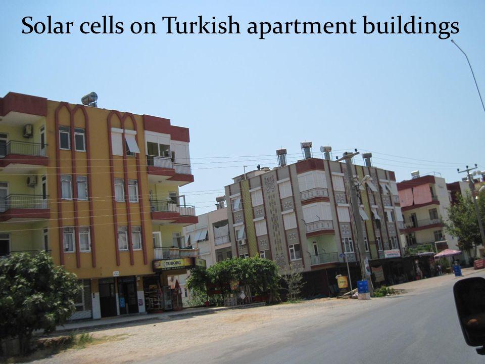 Solar cells on Turkish apartment buildings