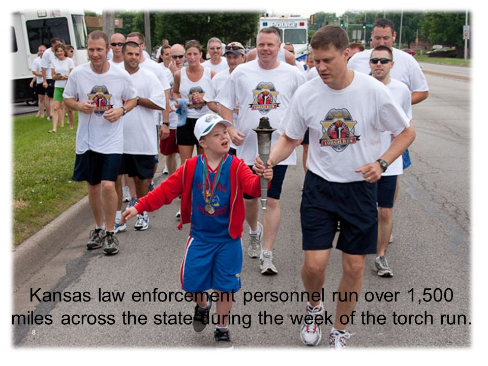 8 Kansas law enforcement personnel run over 1,500 miles across the state during the week of the torch run.