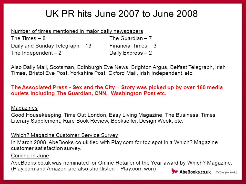 UK PR hits June 2007 to June 2008 Number of times mentioned in major daily newspapers The Times – 8The Guardian – 7 Daily and Sunday Telegraph – 13Financial Times – 3 The Independent – 2Daily Express – 2 Also Daily Mail, Scotsman, Edinburgh Eve News, Brighton Argus, Belfast Telegraph, Irish Times, Bristol Eve Post, Yorkshire Post, Oxford Mail, Irish Independent, etc.