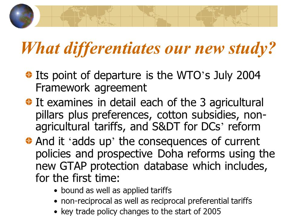 Outline of presentation What are the potential welfare gains from full goods trade reform, by country/region, due to: developed relative to developing countries ' policies.