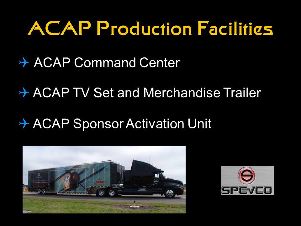 ACAP Production Facilities  ACAP Command Center  ACAP TV Set and Merchandise Trailer  ACAP Sponsor Activation Unit