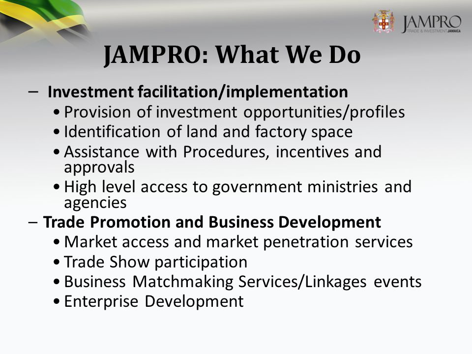JAMPRO: What We Do – Investment facilitation/implementation Provision of investment opportunities/profiles Identification of land and factory space Assistance with Procedures, incentives and approvals High level access to government ministries and agencies –Trade Promotion and Business Development Market access and market penetration services Trade Show participation Business Matchmaking Services/Linkages events Enterprise Development