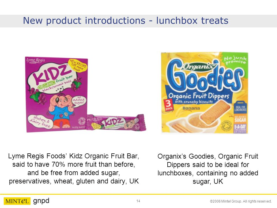 14 ©2006 Mintel Group. All rights reserved. New product introductions - lunchbox treats Lyme Regis Foods' Kidz Organic Fruit Bar, said to have 70% mor