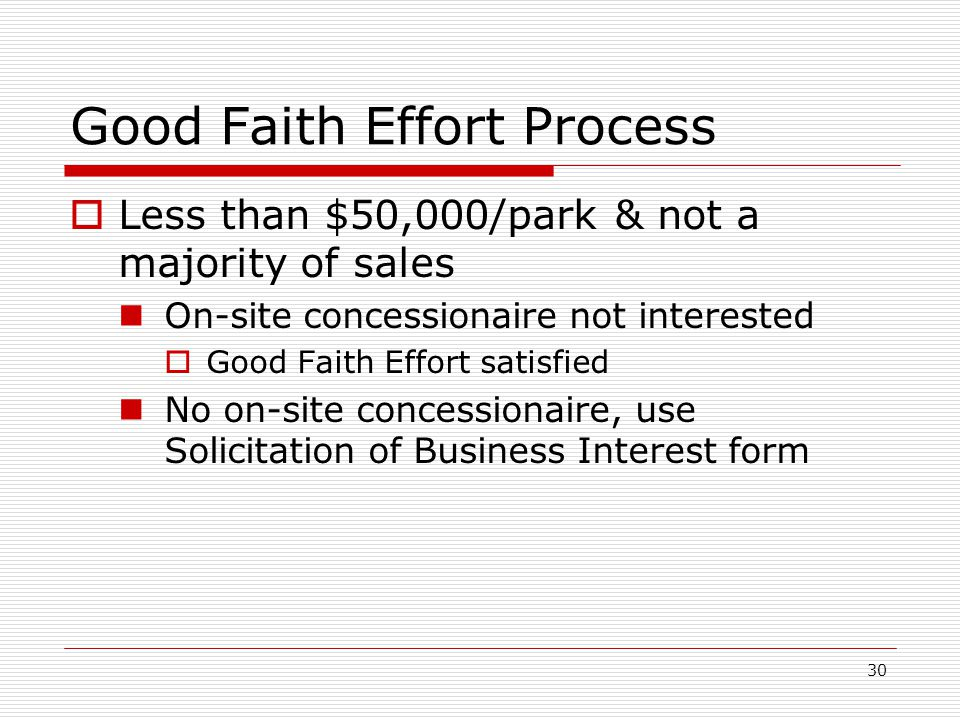 30 Good Faith Effort Process  Less than $50,000/park & not a majority of sales On-site concessionaire not interested  Good Faith Effort satisfied No