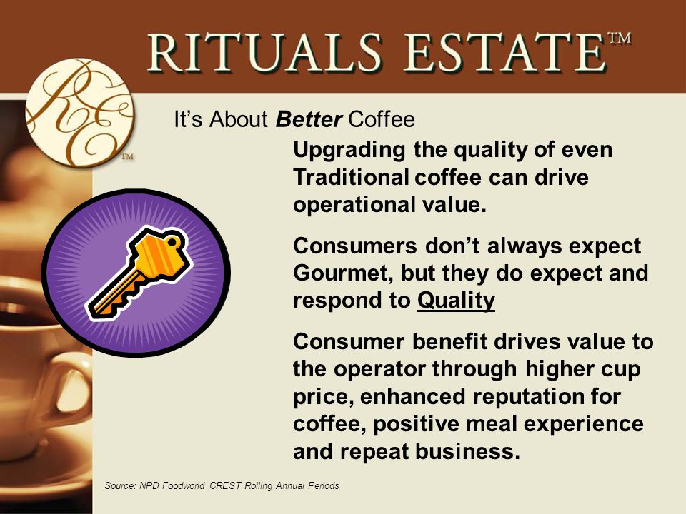 It's About Better Coffee Source: NPD Foodworld CREST Rolling Annual Periods Upgrading the quality of even Traditional coffee can drive operational value.