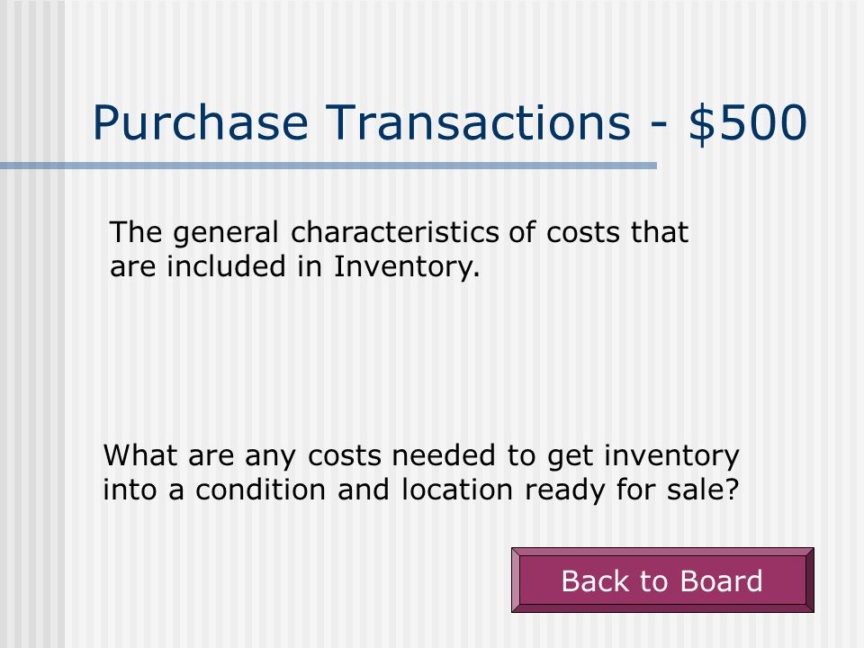 Purchase Transactions - $400 A Purchase Discount that offers a 2% discount if paid within 10 days, otherwise the balance due in 30 days.
