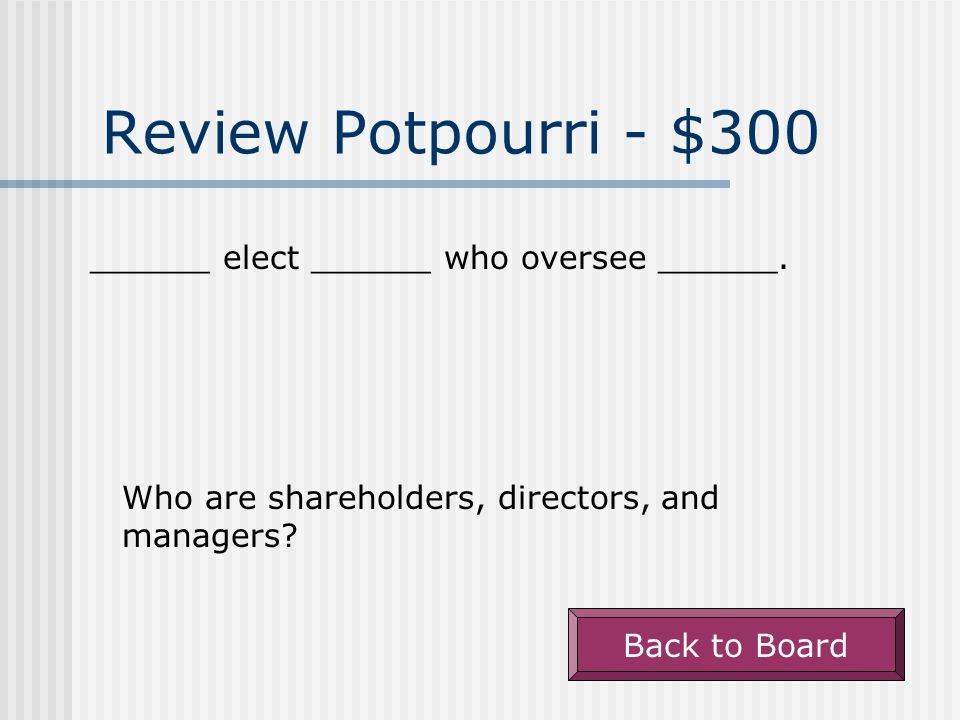Review Potpourri - $200 Back to Board Further information about the financial statements, contained in the annual reports.
