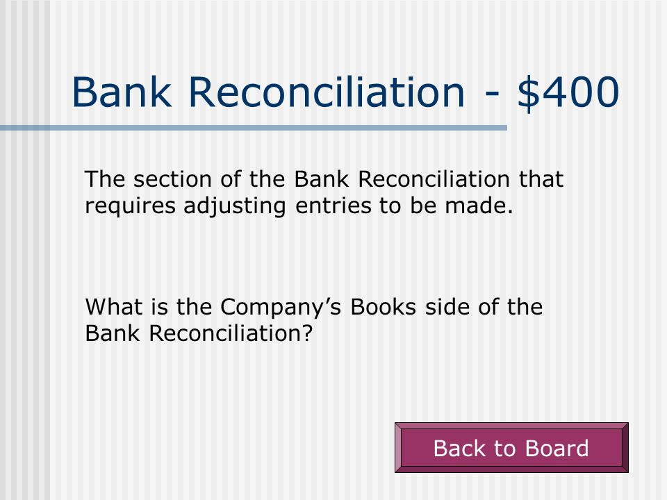 Bank Reconciliation - $300 NSF cheques from customers are accounted for in this manner on the bank reconciliation.