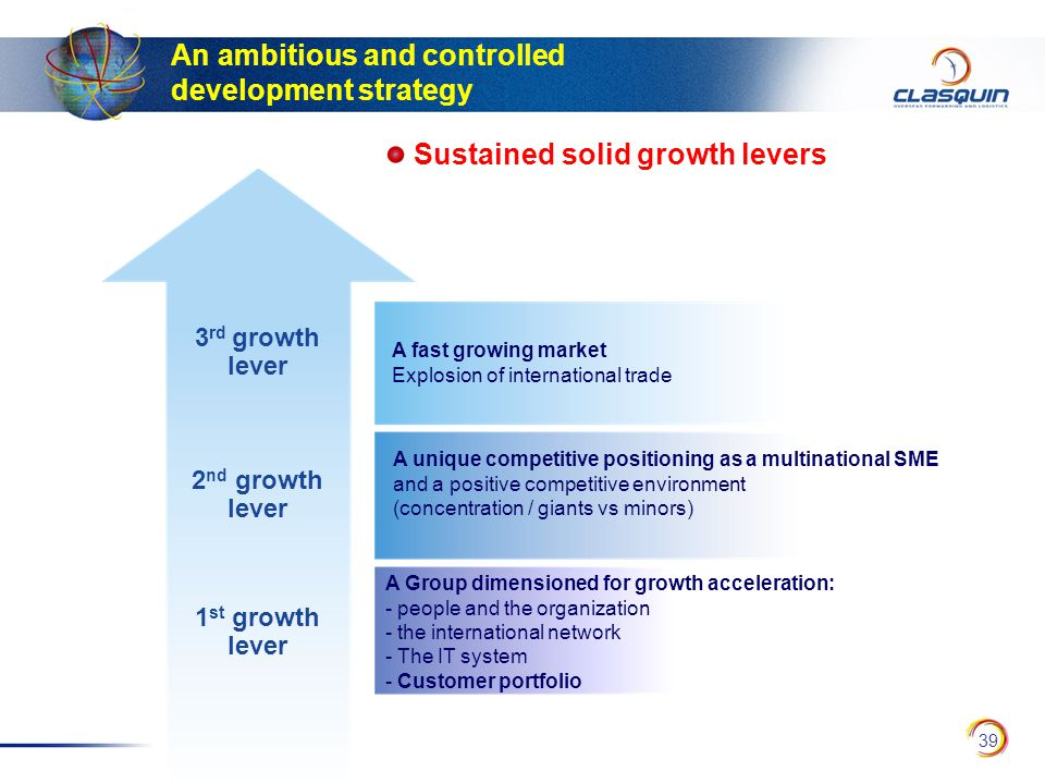 39 3 rd growth lever 2 nd growth lever 1 st growth lever A fast growing market Explosion of international trade A unique competitive positioning as a multinational SME and a positive competitive environment (concentration / giants vs minors) A Group dimensioned for growth acceleration: - people and the organization - the international network - The IT system - Customer portfolio Sustained solid growth levers An ambitious and controlled development strategy