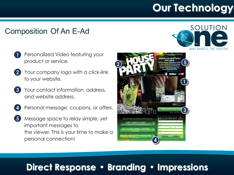 Direct Response Branding Impressions SPAM COMPLIANT Pay to deploy Double opt-in list Adhere to strict rules and regulations TECHNOLOGY Unique method of embedding video in HTML Professional video production IP protection TARGETED Custom list of unlimited number of qualified prospects Large wholesale data partner Help you build a prospect profile MEASURED RESULTS Instant reporting...good or bad Easy to track Immediate feedback helps to fine-tune campaigns FOLLOW-UP Data capture offers flexibility in follow-up Blended campaigns increase conversion to sales EFFECTIVE 93% delivery rate to prospects inbox Video has better impact than just print, radio or website Video helps better understand offering FLEXIBLE Shared risk pilot programs Long term relationships Business building strategy CREATIVE Absolute best at what we do Fast project turn around Customer satisfaction driven TIMING Mainstream access to broadband internet from home now available How We Are Different Direct Response Branding Impressions