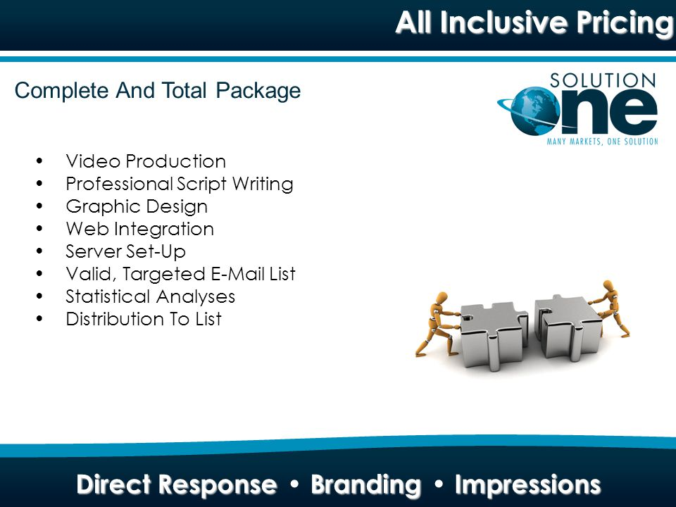All Inclusive Pricing Direct Response Branding Impressions Complete And Total Package Video Production Professional Script Writing Graphic Design Web Integration Server Set-Up Valid, Targeted E-Mail List Statistical Analyses Distribution To List