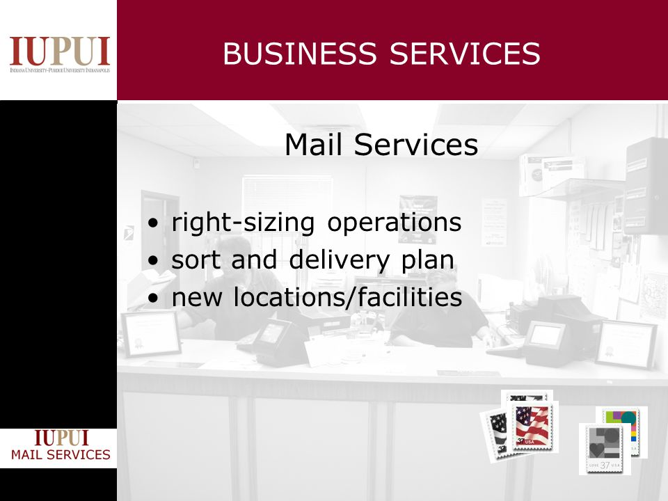 BUSINESS SERVICES Mail Services right-sizing operations sort and delivery plan new locations/facilities