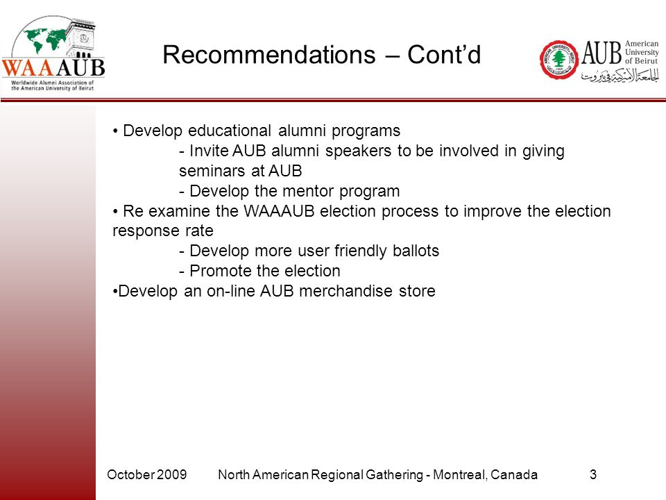 Recommendations – Cont'd Develop educational alumni programs - Invite AUB alumni speakers to be involved in giving seminars at AUB - Develop the mentor program Re examine the WAAAUB election process to improve the election response rate - Develop more user friendly ballots - Promote the election Develop an on-line AUB merchandise store October 2009North American Regional Gathering - Montreal, Canada3