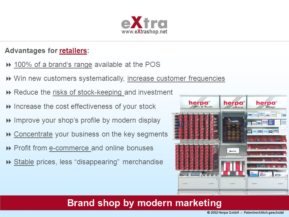  2002 Herpa GmbH – Patentrechtlich geschützt www.eXtrashop.net Brand shop by modern marketing Advantages for retailers:  100% of a brand's range available at the POS  Win new customers systematically, increase customer frequencies  Reduce the risks of stock-keeping and investment  Increase the cost effectiveness of your stock  Improve your shop's profile by modern display  Concentrate your business on the key segments  Profit from e-commerce and online bonuses  Stable prices, less disappearing merchandise