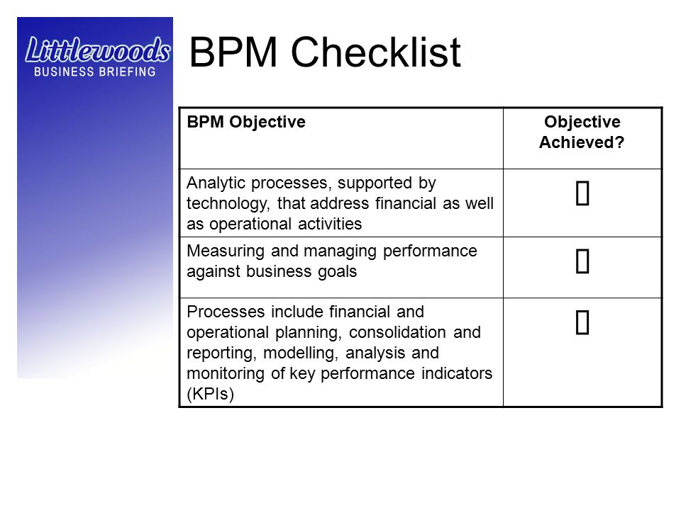 BPM Checklist BPM ObjectiveObjective Achieved? Analytic processes, supported by technology, that address financial as well as operational activities M
