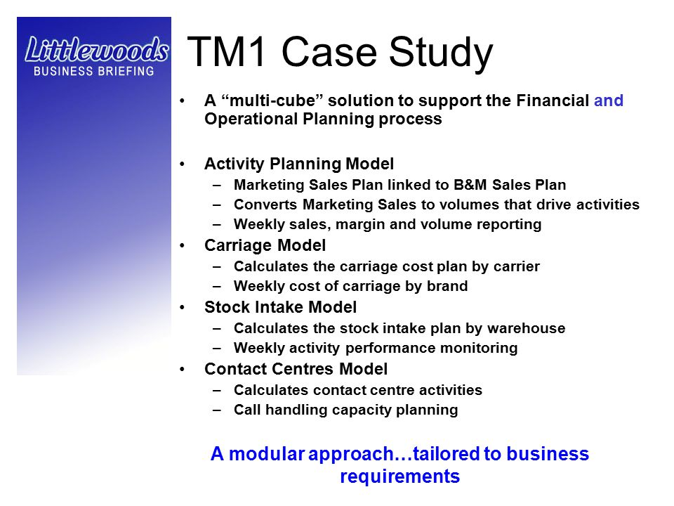 "TM1 Case Study A ""multi-cube"" solution to support the Financial and Operational Planning process Activity Planning Model –Marketing Sales Plan linked"