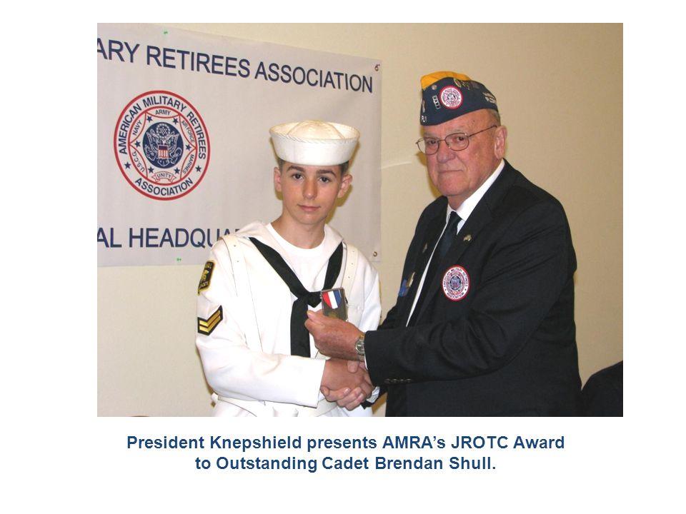President Knepshield presents AMRA's JROTC Award to Outstanding Cadet Brendan Shull.