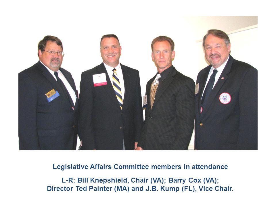 Legislative Affairs Committee members in attendance L-R: Bill Knepshield, Chair (VA); Barry Cox (VA); Director Ted Painter (MA) and J.B. Kump (FL), Vi