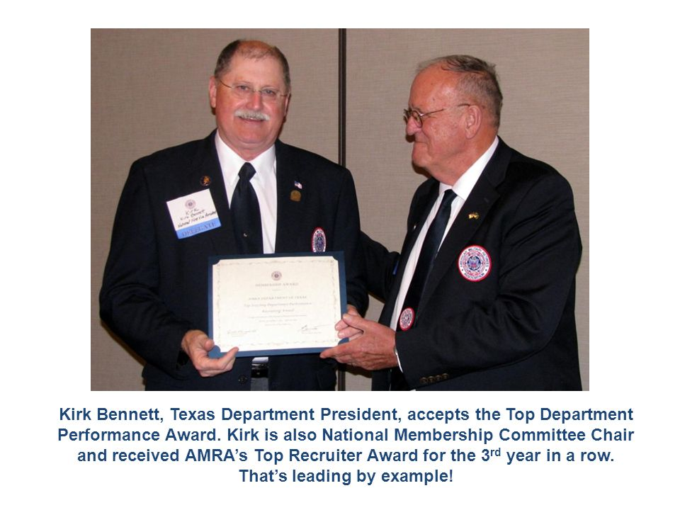 Kirk Bennett, Texas Department President, accepts the Top Department Performance Award. Kirk is also National Membership Committee Chair and received